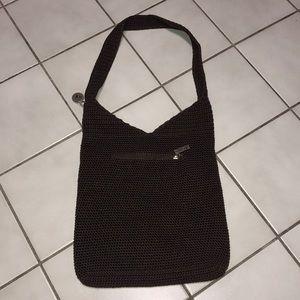 The Sak brown crochet bucket bag